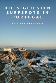 Die 5 geilsten Surfspots in Portugal!   Wow! Nur 20 Minuten vom Flughafen entfernt steht man schon am Meer und kann sich gar nicht entscheiden, ob man nach links oder rechts schauen soll. Eine Felsformation ist schöner als die andere und wie die Wellen in die Bucht rauschen – herrlich. Wir stehen oben auf dem Aussichtspunkt an der Straße bei Ericeira und haben den besten Überblick....#surfen #portugal #travel