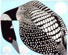Moon and Loon by Ikki Matsumoto | Ikki Matsumoto, who studied under the esteemed wildlife artist Charley Harper at the Art Academy of Cincinnati. Like Harper, Matsumoto has also been a member of Masterworks for Nature.-