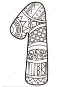 Number 1 Zentangle Coloring page