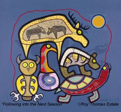 roy thomas - was an ahnisnabae-born ojibwa artist who resided in thunder bay, ontario. he was born in a small northwestern ontario community of long lac, on december roy devoted a great deal of time learning about the ways of his p Inuit Kunst, Inuit Art, Native Canadian, Native American Art, Woodland Art, Native Design, Animal Books, Indigenous Art, Native Art