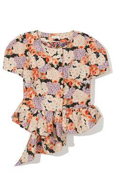 Delpozo Floral Printed Peplum Top at Moda Operandi