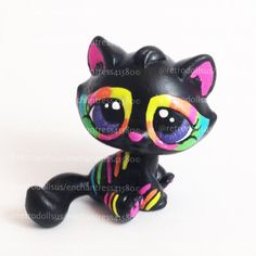 Custom Littlest Pet Shop Toy Neon Kitty LPS by RetroDollsUS