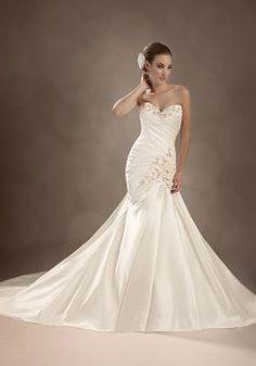 Charming Satin Fit N Flare Floor Length Sweetheart Dropped Waist Wedding Dress - 1300103695B - US$239.99 - BellasDress