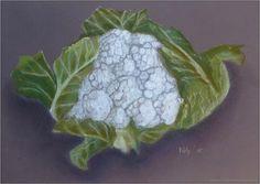 In de reeks van schilderen van mijn moeder ditmaal een prachtige bloemkool!