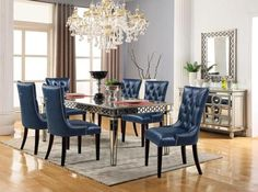 Brooklyn Dining Room Set Cosmos Furniture in Dining Room Sets. The Brooklyn Collection by Cosmos Furniture offers elegant dining in a transitional style. Transform your dining room into an elegantly charming place with this collection. 7 Piece Dining Set, Dining Room Sets, Dining Table Chairs, Dining Room Furniture, Side Chairs, Inexpensive Furniture, Elegant Dining, Furniture Styles, Nail Head