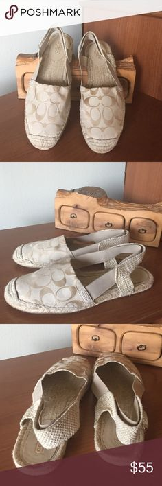Coach RAYANNE flat Coach RAYANNE flat   sandal with covered toes.Upper is made with  elegant sheen 12 cm signature jacquard fabric in light khaki color with relaxed  espadrille flat to add a touch of luxury.Sling back elastic rubber strap.Comfortable rustic jute foot bed. Rubber and jute out sole for traction and durability. Coach Shoes Espadrilles