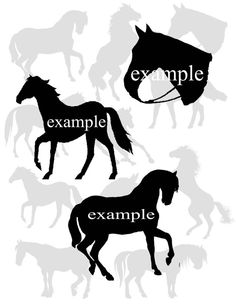 Horse Silhouettes...Western...Digital Collage by Cloud9Kreations, $3.25