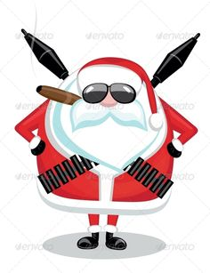 Bad Santa  #GraphicRiver         Funny cartoon Santa with ammunition, cigar and sunglasses     Created: 6February13 GraphicsFilesIncluded: JPGImage #VectorEPS Layered: No MinimumAdobeCSVersion: CS Tags: ammo #ammunition #background #beard #belt #cartoon #character #christmas #cigar #cuban #fun #granate #gun #humor #isolated #joke #missile #mustache #pose #posing #rocketlauncher #rpg #santa #season #seasonal #serious #soldier #sunglasses #terrorist #vector