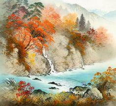 Японский художник Koukei Kojima - сансуй (живопись на шёлке)