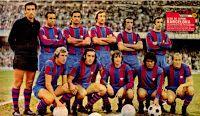 F. C. BARCELONA - Barcelona, España - Temporada 1973-74 - Sadurní, Rifé, Torres, Costas, De la Cruz y Juan Carlos; Rexach, Asensi, Cruyff, Sotil y Marcial - F. C. BARCELONA 4 (Marcial 2, Rexach, Cruyff) C. D. MÁLAGA 0 - 09/12/1973 - Liga de 1ª División, jornada 13 - Barcelona, Nou Camp - El Barça, CAMPEÓN DE INVIERNO - Luego, ganaría la Liga, con Rinus Michels de entrenador