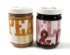 Cute Gift: Repackage PB&J in cute jars for your college student or servicemen and women care packages with these darling peanut butter and jelly labels .or for a gift basket with fun breads Jam Packaging, Bottle Packaging, Pretty Packaging, Product Packaging, Packaging Ideas, Bottle Labels, Jam Label, Beer Label, I Love You Ring