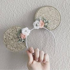 Gold Glitter Minnie Mickey Mouse Ears Sparkle Disney Ears for