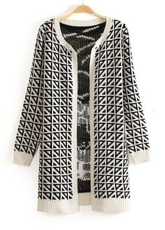 Black White Geometric Tiger Face Back Pattern Knitting Coat - Sheinside.com