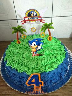 Sonic Birthday Cake, Sonic Birthday Parties, Sonic Party, Cupcake Birthday Cake, Birthday Party Themes, Boy Birthday, Bolo Sonic, Sonic Cake, Bolo Diy