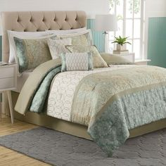 The Dorado Comforter Set has a traditional look updated with a modern sensibility, featuring pieced sections of embroidery and textural prints in a soothing soft blue color scheme.bed bath and beyond Bedroom Comforter Sets, Comforter Sets, Comforters, Master Bedroom Comforter Sets, White Comforter, Home Decor, Bedding Master Bedroom, Bed, Master Bedrooms Decor