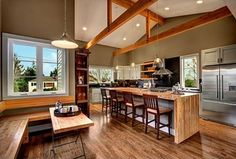do an exposed-beam something once the drop ceiling is gone. (!!!)