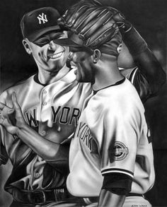 NY Yankees - Mariano Rivera and Derek Jeter - Pencil Drawing by Jerry Winick