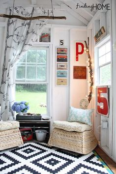 Love the letters and branches! - DIY Playhouse & Pool House For Our Teens. This is a great way to revamp a kids play house so that they can enjoy it as teens and you can recycle things you have! Decor, House Design, Pool House, House, Interior, Home, Porch Decorating, Playhouse Interior, Play Houses