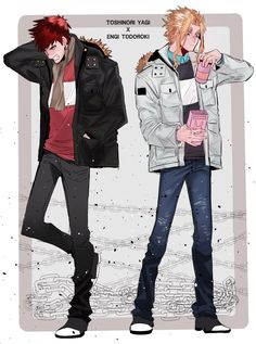 Boku no Hero Academia || Todoroki Enji (Endeavor), Yagi Toshinori (All Might).