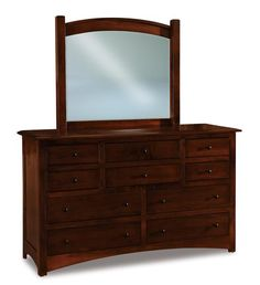 Amish Finland Ten Drawer Dresser with Optional Mirror Ample solid wood storage that's handcrafted to match your bedroom. The Finland comes in the wood, stain and hardware you choose. #dressers #dresserandmirror #bedroomfurniture