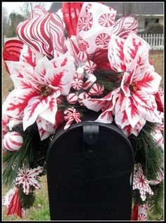 Christmas Mailbox Swags | Holiday Mailbox Swag | Peppermint Swag