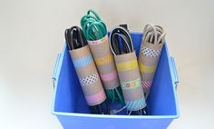Use empty toilet paper tubes for cord organizers.