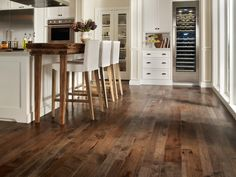 Enticing Dark Stained Hickory Wood Kitchen Flooring Staining Hardwood Floors of… Hickory Wood Floors, Laminate Hardwood Flooring, Hardwood Floors In Kitchen, Rustic Wood Floors, Hardwood Floor Colors, Wood Floor Kitchen, Engineered Wood Floors, Kitchen Flooring, Wooden Kitchen