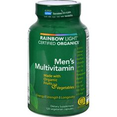 Rainbow Light Certified Organics Men's Multivitamin Description: Made With Organic Fruits and Vegetables Enhanced Energy, Strength and Longevity Protects the Ma