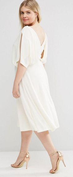 Plus Size Midi Dress In Crepe With Drape Layer