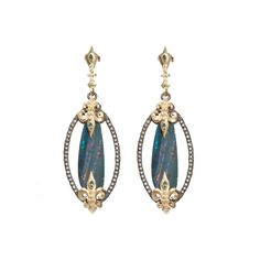 Armenta Old World 18K Yellow Gold Sterling Silver Opal, Diamond & Sapphire Drop Earrings