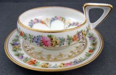 Unique Antique Dresden Demitasse Cup & Saucer
