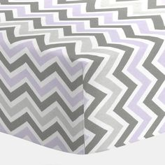Lilac and Slate Gray Chevron Crib Sheet | Carousel Designs...for a girl.