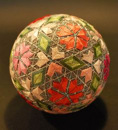 """Temari Balls - The  Creation of a 88 Year Old Japanese.  The amazing creations of a 88 year old japanese grandmother, practicing with talent the art of """"Temari"""", a Chinese art imported into Japan in the 7th century."""