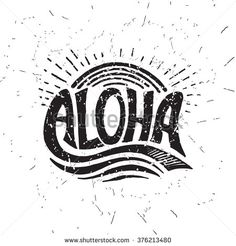 Aloha surfing lettering. Vector calligraphy illustration. Hawaiian handmade tropical exotic t-shirt graphics. Summer apparel print design. Retro drawn sea wave, sun, spray, vintage texture - stock vector