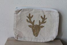 Petite trousse 100% coton écru motif tête de cerf doré pailleté : Trousses par bog-art