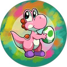 Pink yoshi button  iveechan
