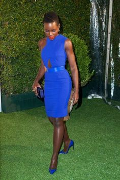 Lupita in an electric blue dress, YES!!!