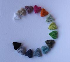 MINI Crochet Hearts in green color. Set of 3. by maricatimonsina