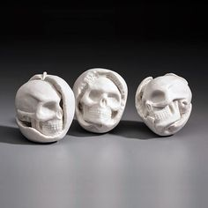 "Kate MacDowell fine art ceramic sculpture""Strange Fruit"" 3 x 3 x hand-built porcelain, cone 6 glaze Kate Macdowell, Atelier Design, Still Life Artists, Strange Fruit, Ghost In The Machine, Paperclay, Skull And Bones, Porcelain Ceramics, Porcelain Jewelry"