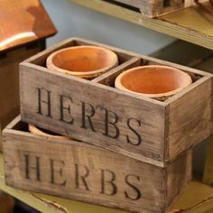 Wooden Herb Crate with Pair of Pots
