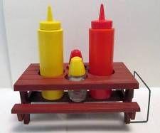 GEMCO Picnic Table Condiment Holder Set Salt, Pepper, Ketchup, Mustard