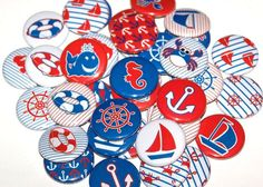 "10 Nautical Sailing 1 Inch Pinback Buttons 1"" Pins or Magnets Anchor on Etsy, $5.00"
