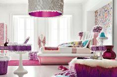 Farbgestaltung fürs Jugendzimmer – 100 Deko- und Einrichtungsideen - kräftige jugendzimmer kronleuchter muster farben mädchen