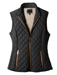 "LE3NO Womens Lightweight Quilted Puffer Jacket Vest with Pockets; ""Camel"""