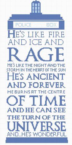 "Tardis Free Cross Stitch  ""He's like fire and ice and rage..."""