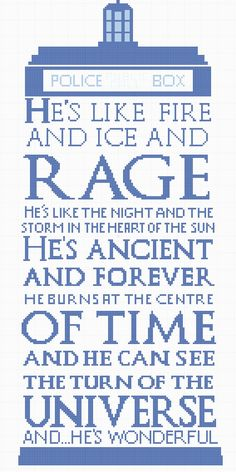 "Tardis Free Cross Stitch  ""He's like fire and ice and rage..."""