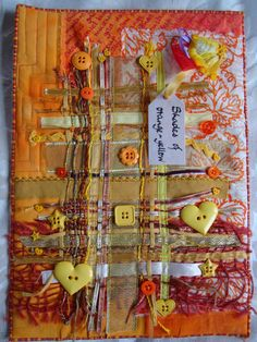 May journal quilt, shades of orange-yellow, at Crazy Daisy.love the idea of a journal quilt project. Fabric Art, Fabric Crafts, Sewing Crafts, Sewing Projects, Fabric Book Covers, Fabric Books, Crazy Patchwork, Crazy Quilting, Hand Quilting