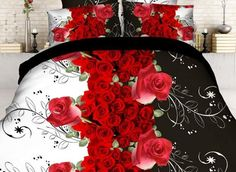 Gorgeous Red Rose and Vine Print 4-Piece Polyester #3D Duvet Cover #bedroom #bedding