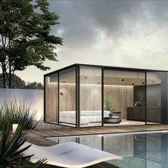 Backyard Studio, Modern Backyard, Minimal House Design, Garden Pods, Glass House Design, Coastal House Plans, Sloped Garden, Floating House, Garden Architecture