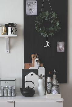 Black and white kitchen decor.